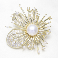 Rose Gold Silver Plated Cubic Zircon CZ Rhinestone Brooch Women Wedding Bridal Jewelry Natural Real Pearl