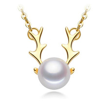 18K Yellow Gold Natural Cultured Freshwater Pearl Cute Deer Pearl Necklace Pendant Women Chain Link Christmas Deer Gift