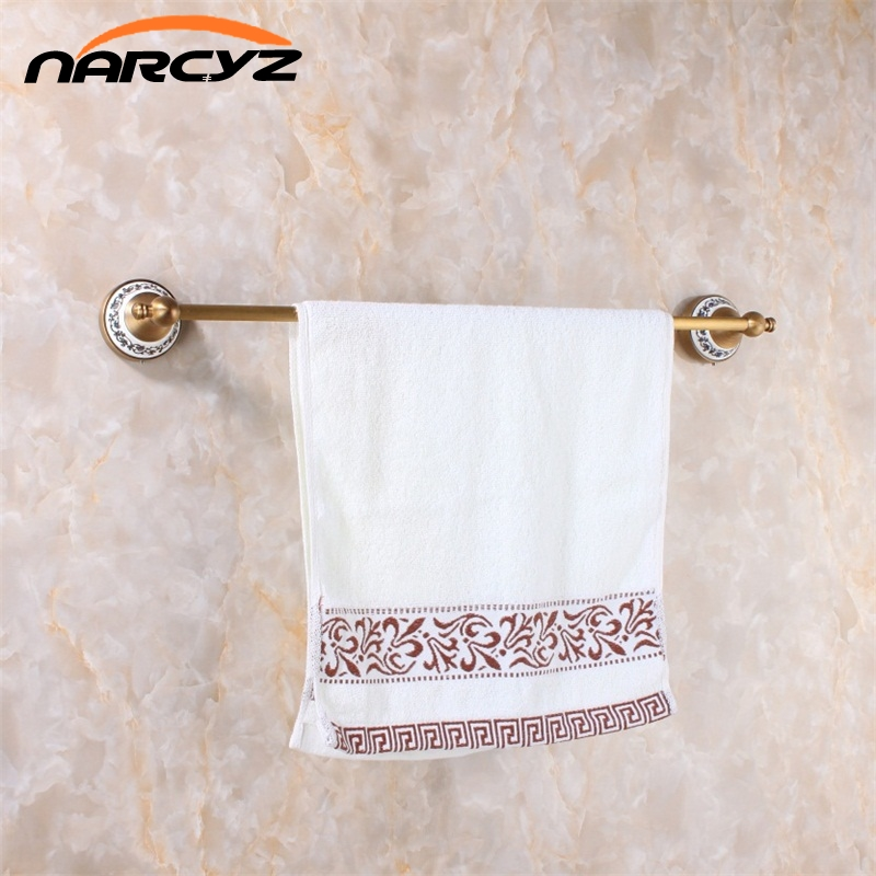Towel Bars 60cm Single Wall Mounted Towel Bar Towel Holder Solid Brass Antique Finish Bath Products Bathroom Accessories 9064K aluminum wall mounted square antique brass bath towel rack active bathroom towel holder double towel shelf bathroom accessories
