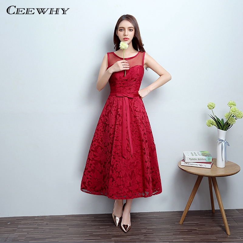 CEEWHY Burgundy Sleeveless A Line Wedding Party Dress Lace Formal ...