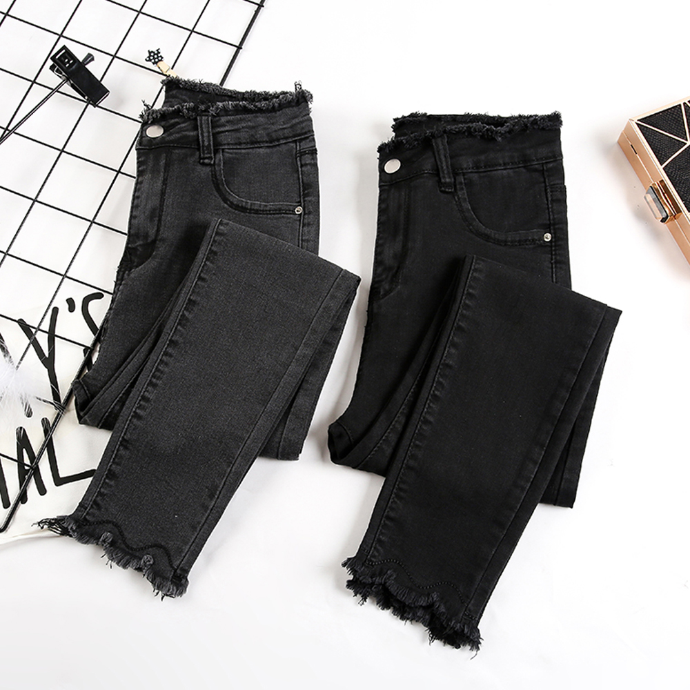 new women vintage black gray denim pants high waist tassel skinny   jeans   female stretch pencil pants   jeans   casual bottoms
