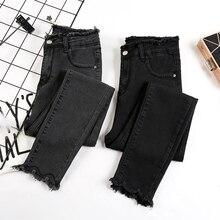 new women vintage black gray denim pants skinny cotton elastic jeans female high