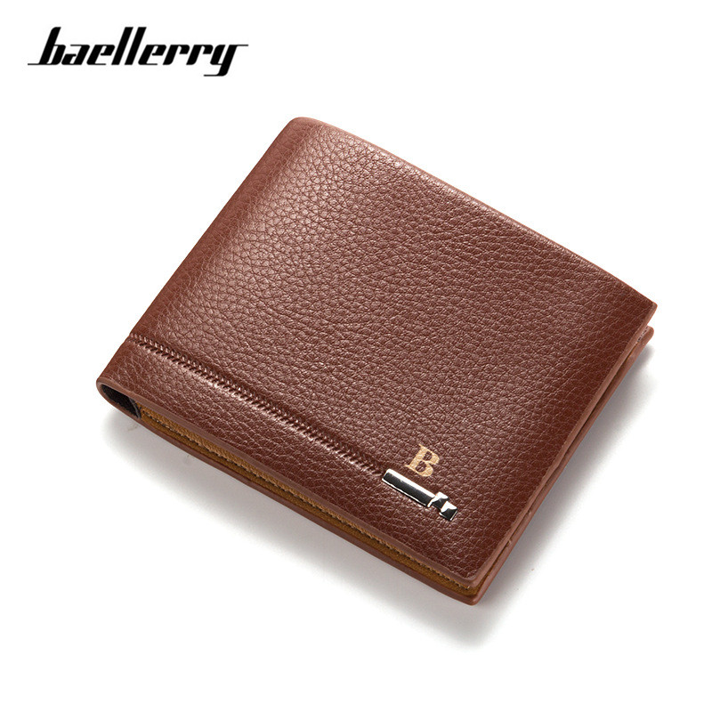 2017 BAELLERRY New Arrival PU Leather Men Wallets Black Brown Designer Coin Pocket Card Holder Purse Wallet carteira masculina men long purse boys teenagers black pu wallet doge shiba inu wallets birthday gifts carteira