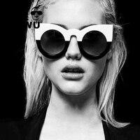 Adewu Newest Fashion Women Round Cat Eye Sunglasses High Quality Frame Glasses Street Shooting Fashion