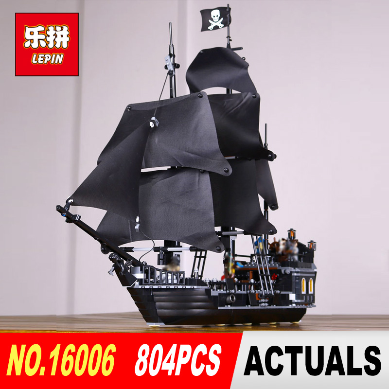 LEPIN 16006 804pcs Classic Pirates of the Caribbean The Black Pearl Building Blocks Set 4184 Lovely Educational toy lepin 16006 804pcs building bricks blocks pirates of the caribbean the black pearl ship legoing 4184 toys for children gift