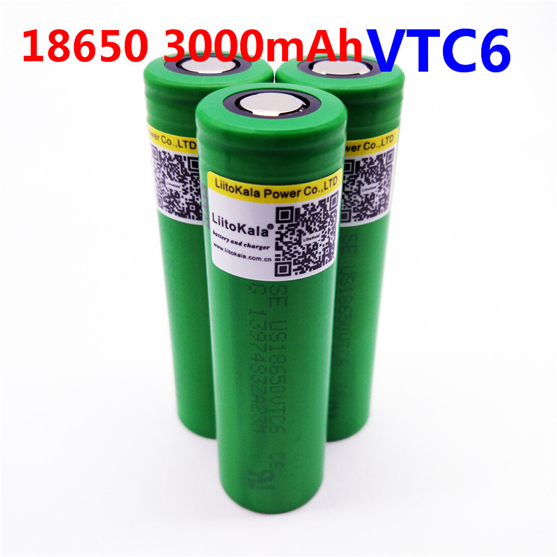 LiitoKala VTC6 3.7V 3000mAh 18650 Li-ion Battery 30A Discharge for US18650VTC6 Tools e-cigarette batteries 100% vtc6 3 7v 3000 mah 18650 li ion rechargeable battery 30a discharge for sony us18650vtc6 batteries diy nickel sheets