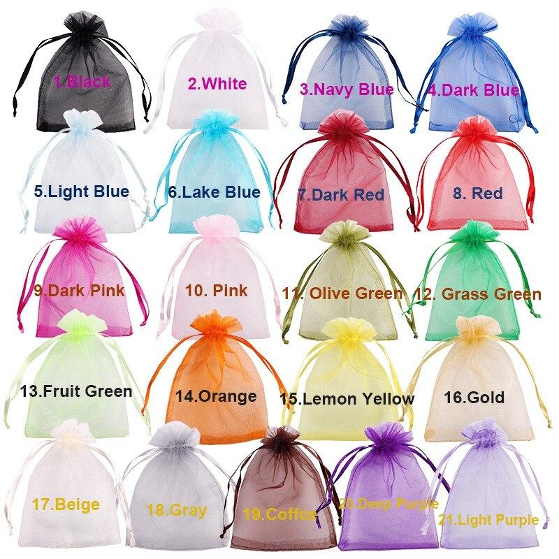 Sacos de organza 50 pçs/lote 7x9 9x12 10x15 13x18cm, sacos de jóias saco de casamento sacos desenháveis para decoração de festas, embalagens para joias