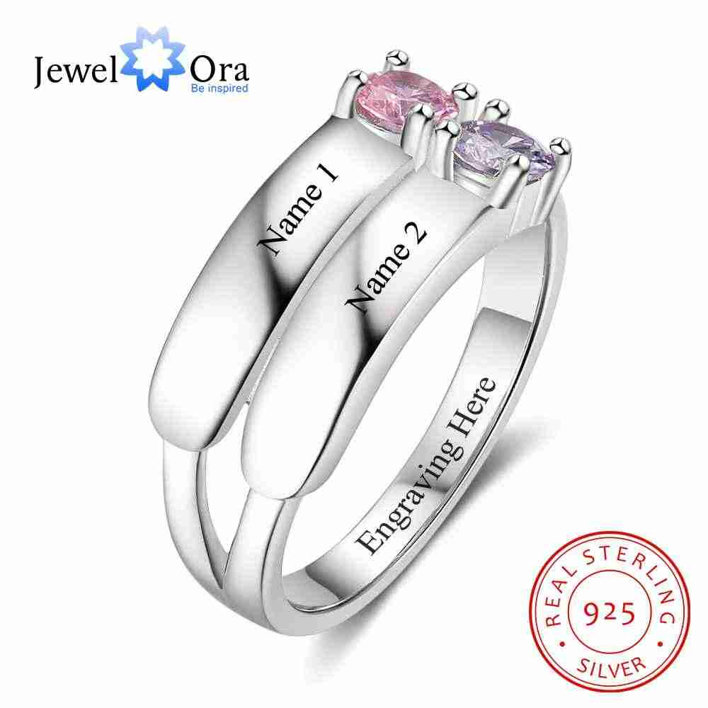 852cd55714 Love Promise Rings For Women Personalized Birthstone Ring Custom Engrave  Names 925 Sterling Silver Jewelry (