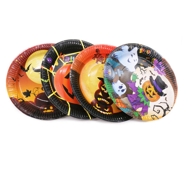 10PCS Halloween Party decor Pumpkin Witch Dinner Dish Plate Fruit Food Dinnerware Plate Disposable Round Luncheon Paper Plates