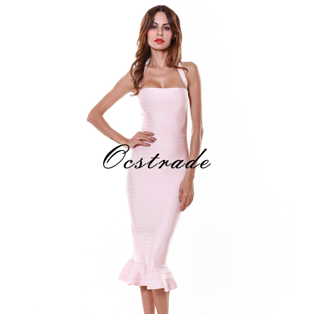 New 2016 Sexy Summer Dress Nude Hater Bandage Dress Knee Length With Fluted Hem -6095