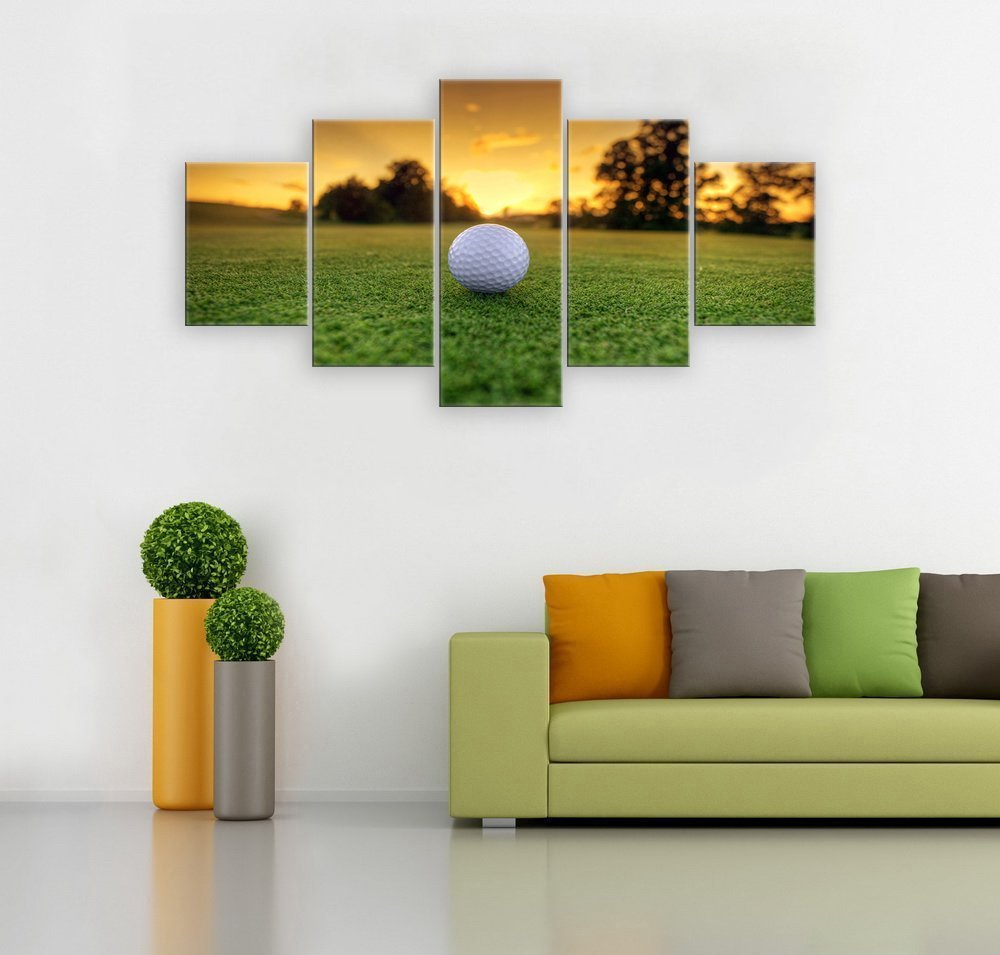 5 Panel Canvas Modern Wall Art Golf Backgrounds Painting Posters and Artwork HD Prints Pictures Decor for Living Room Framed