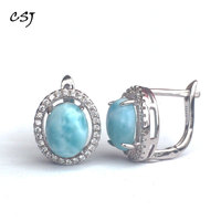 CSJ Classic Larimar good Earring Sterling 925 Silver Natural Blue Gemstone Fine Jewelry Wedding Engagement Bands for Women Gift