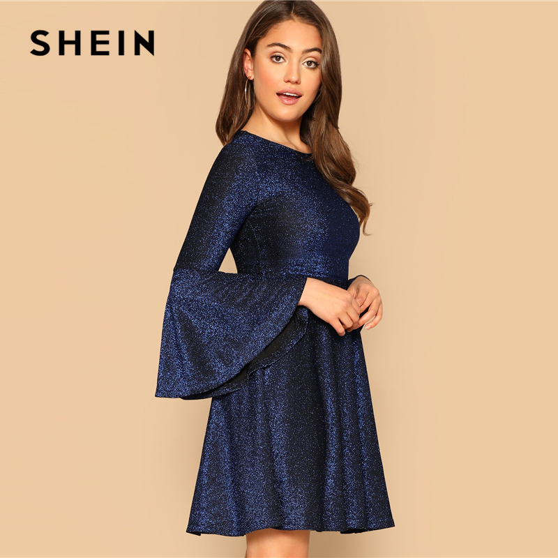 SHEIN Navy Elegant Trumpet Sleeve Fit and Flare Glitter Party Dress Women  2019 Spring Plain Highstreet Solid Short Dresses-in Dresses from Women s  Clothing ... 9c6af143c2b9