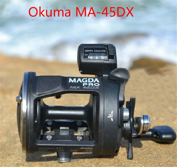 De pêche Okuma magda Ma-45dx tambour enrouleur de câble enrouleur de pêche Compte tour BOBINE Mer moulinet de pêche main Droite bobine