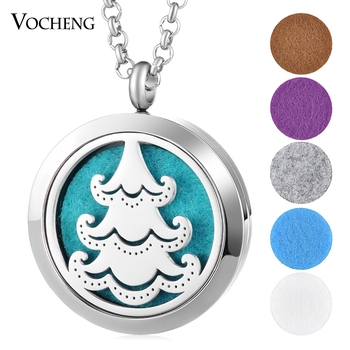 10pcs/lot Essential Oil Diffuser Locket Necklace Christmas 316L Stainless Steel Pendant Magnetic 30mm without Felt Pad VA-788*10
