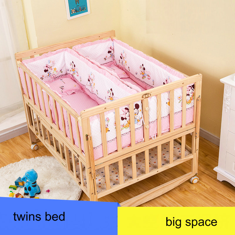 baby twins bed with mosquito net, 114cm length twins cot with wheels, can joint with adult bed