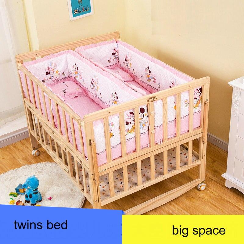 Baby zwillinge Krippe Mit Moskitonetz, Doppel Infant Holzbett Kann ...