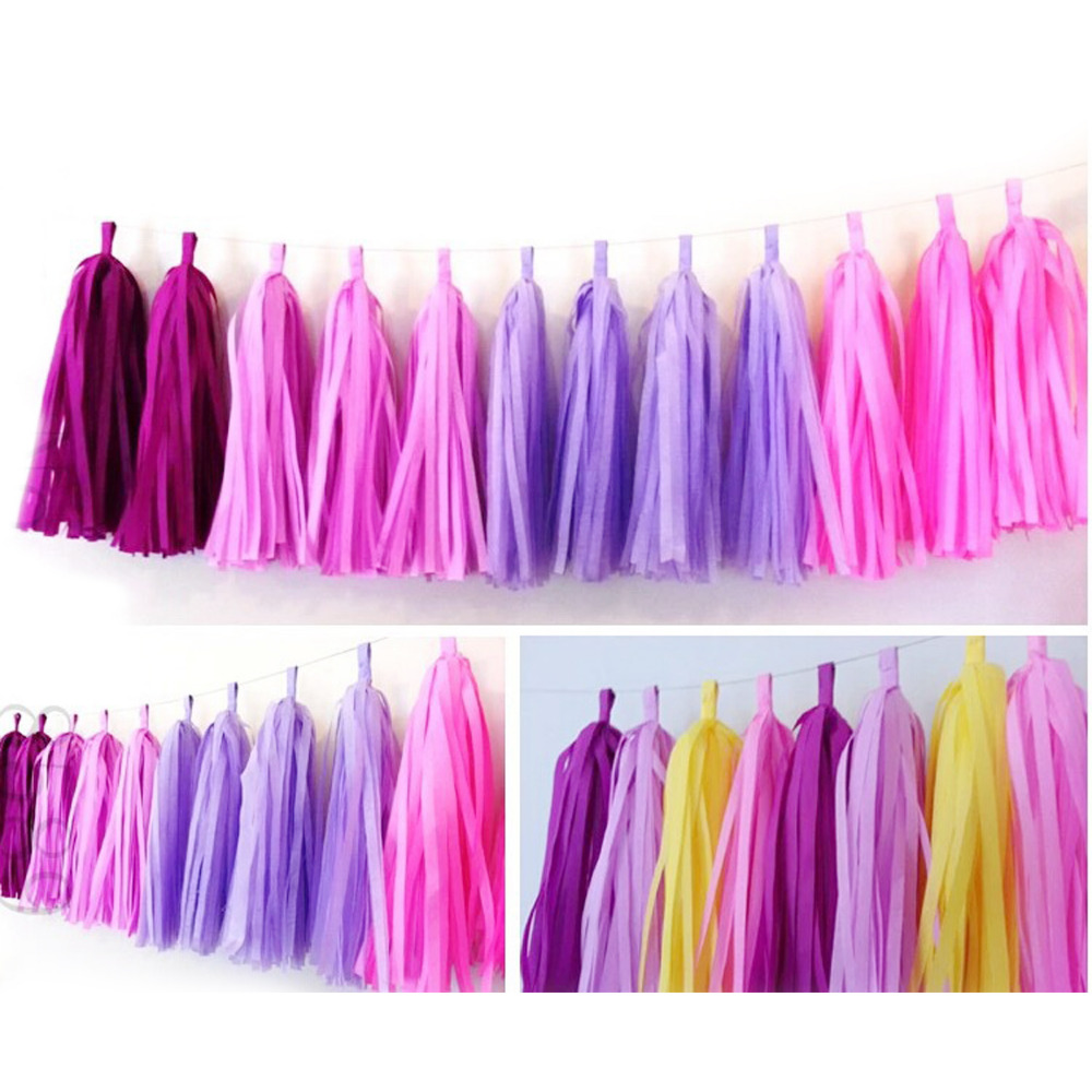 5Pcs/Bag 9 Inch (Height) 25CM*35CM Tissue Garlands Bunting Paper Tassels Garland Wedding Pom Party Decor tassles decoration