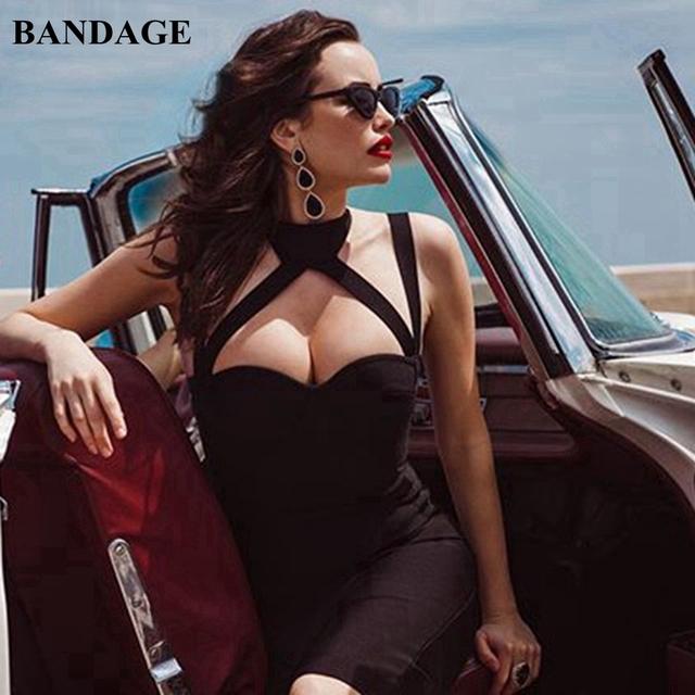 BANDAGE Sexy Midi Women Bandage Dress Black White Red Apricot Blue Spaghetti Strap Strapless Dress Backless Split Party Vestidos