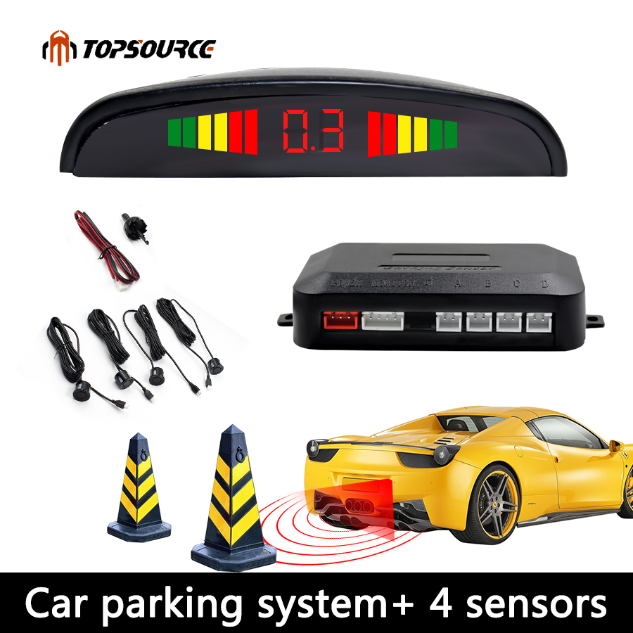 Car Auto Led Parking Sensor Parktronic Display 4 Sensors Reverse Backup Assistance Radar Detector Light Heart Monitor System