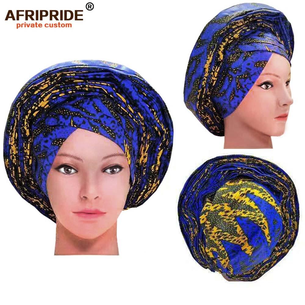 2019 mode africaine tête wrap pour les femmes AFRIPRIDE bazin richi fait à la main 100% coton cire imprimer femmes tête wrap A19H001