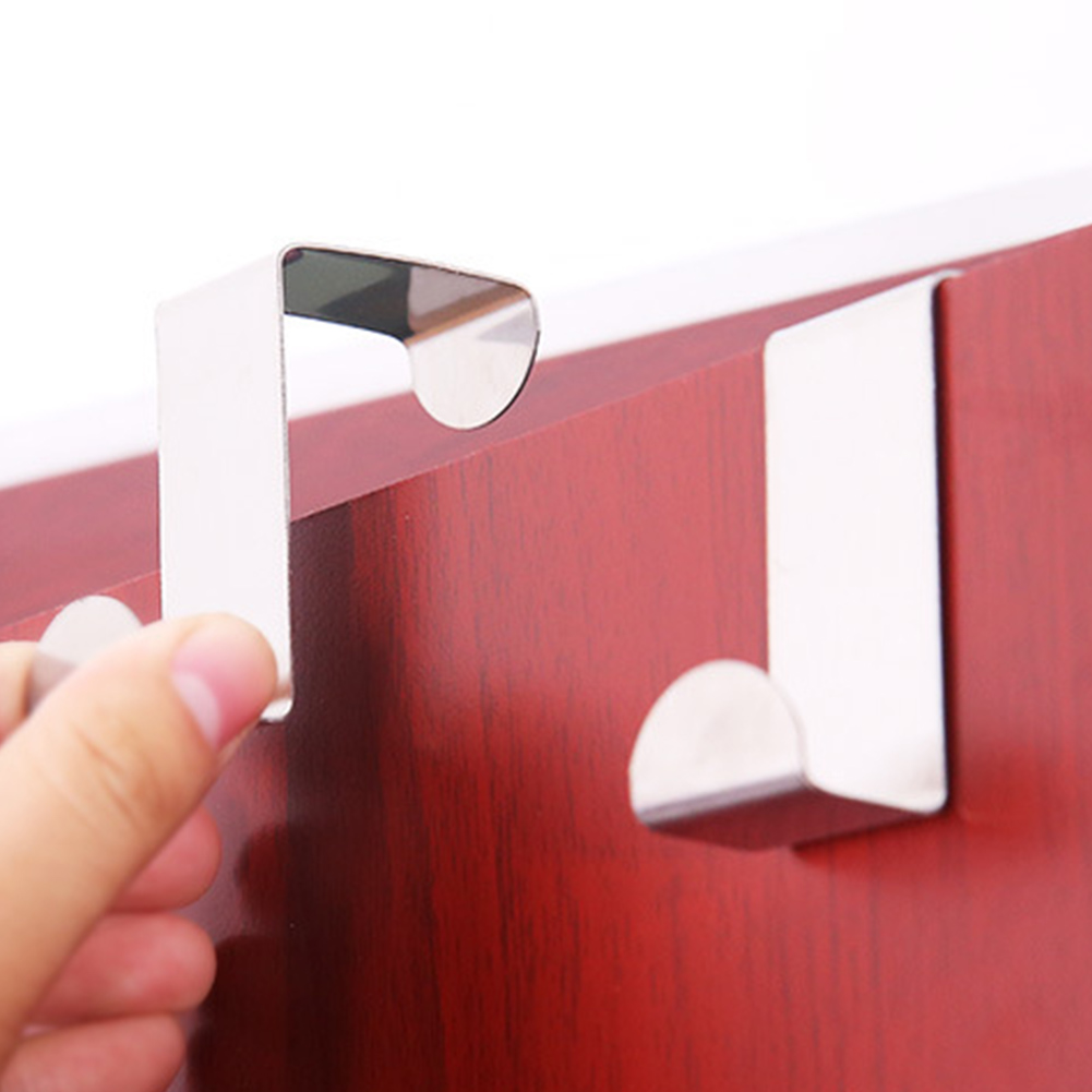 2Pcs/Set Stainless Steel Home Cabinet Door Back Multi-functional Clothing Hanger Hook Behind The Door Hook 5 Colors