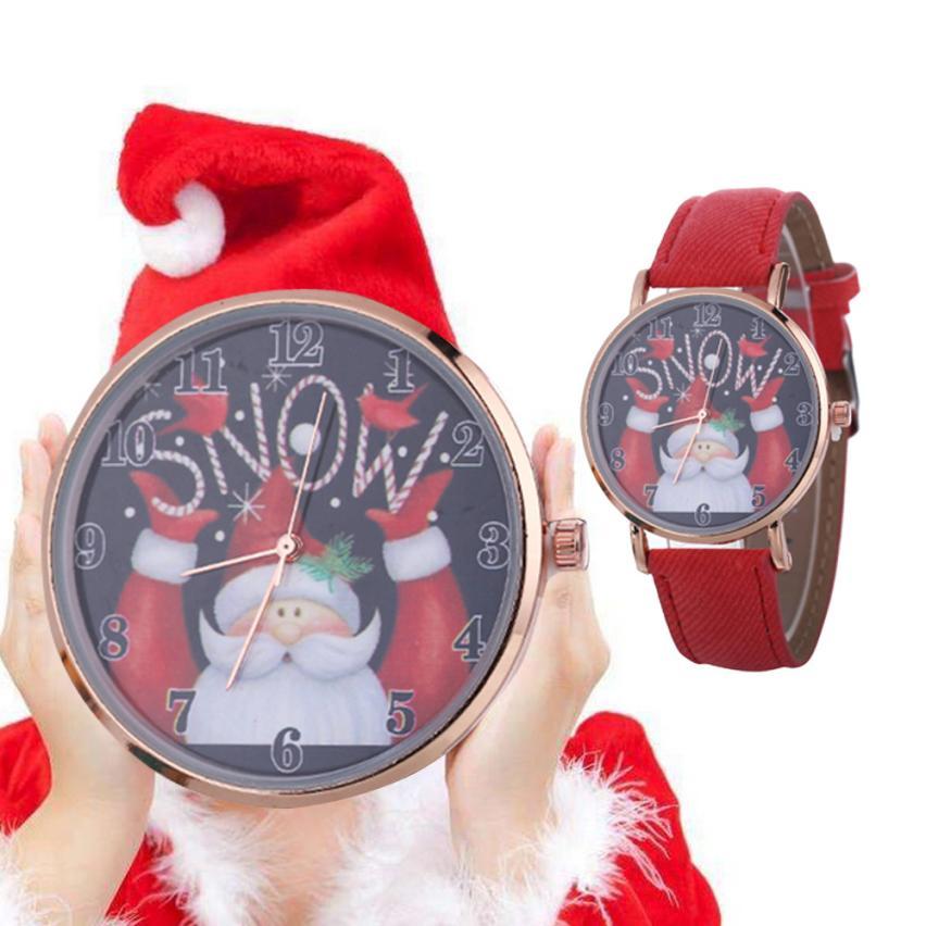 Gewijd Vrouwen Horloges Vintage Kerst Patroon Quartz Lederen Band Riem Tafel Horloge Strass Armband Relogio Masculino Gift #50 Glanzend Oppervlak
