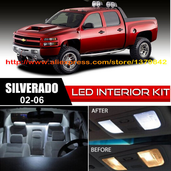 Free Shipping 18Pcs Lot car styling Xenon White Canbus Package Kit LED Interior Lights For Chevy Silverado 1999 2006 in Signal Lamp from Automobiles Motorcycles
