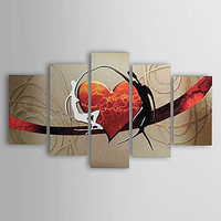 5 PCS Hand Painted Canvas Painting Modern Abstract Lovers Heart Canvas Wall Art Ready to Hang