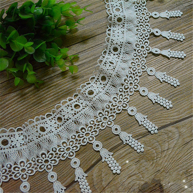 5 Yard/Lot Milk silk tassel lace trim embroidery lace fabric garment  curtains sofa skirts