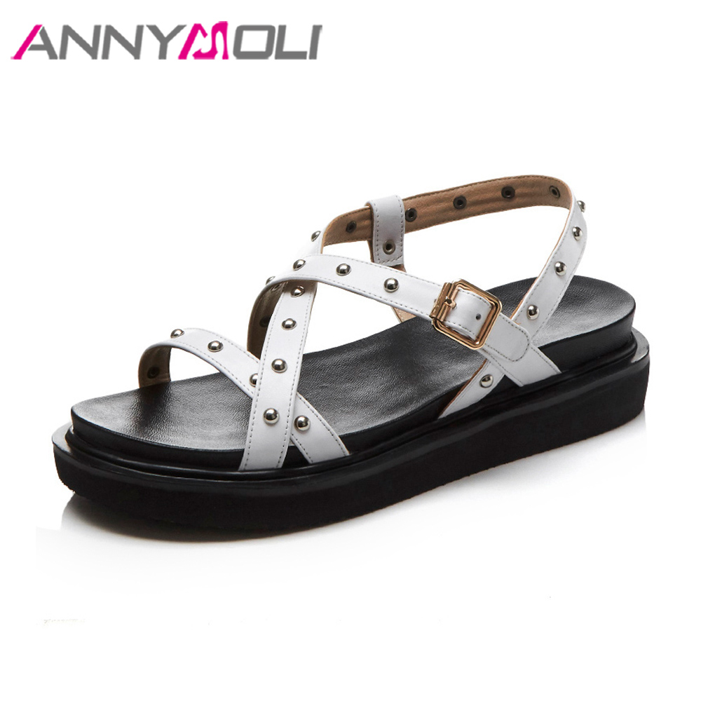 ANNYMOLI Summer Gladiator Sandals Women Genuine Leather Shoes 2018 Platform Flats Black Rivets Cross Strap Shoes Sandals White phyanic 2017 gladiator sandals gold silver shoes woman summer platform wedges glitters creepers casual women shoes phy3323