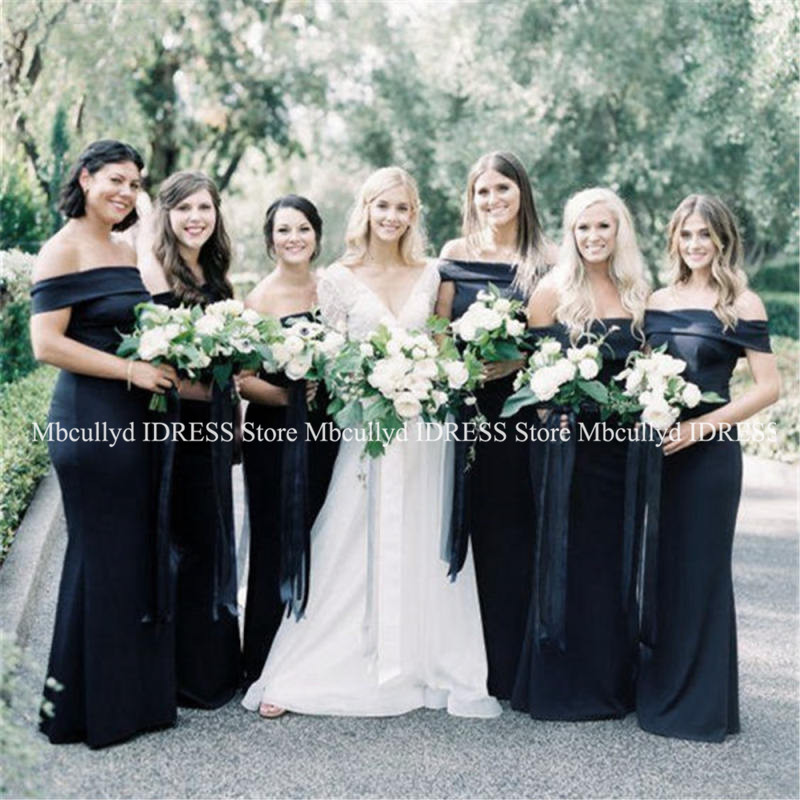 Boat Neck Mermaid   Bridesmaid     Dresses   2019 Sexy Off The Shoulder Formal African Black Girls Wedding Party   Dress   Cheap Under 100