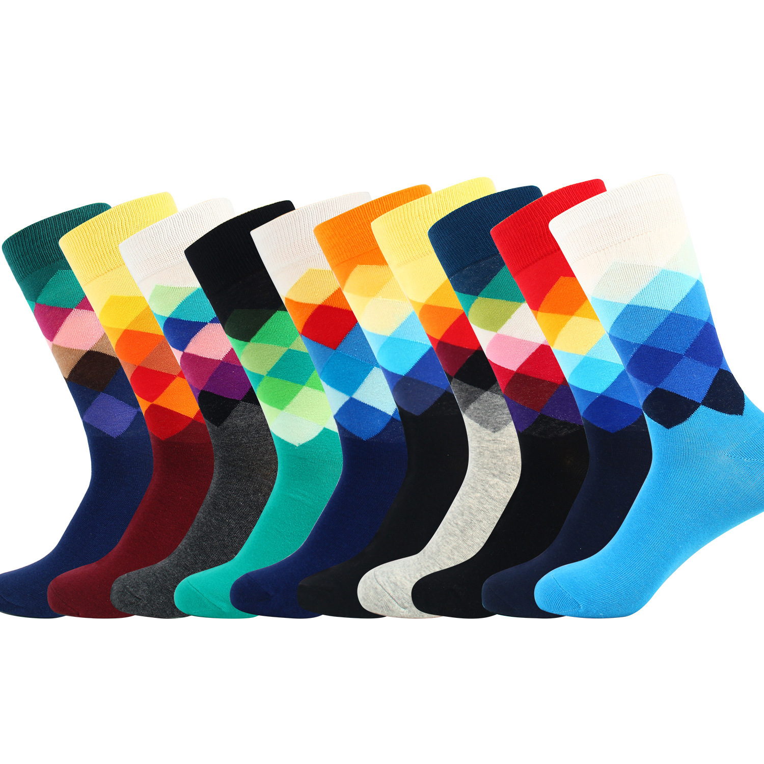 Happy Men's Tube Classic Crazy Socks Colorful Pattern Funny Style Cotton Stockings High Quality Male Crew Dress Socks Business