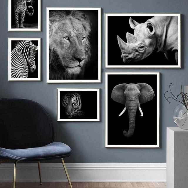 野生動物ライオンタイガーヒョウゾウ壁アートキャンバス絵画北欧ポスターやプリント壁の写真リビングルームのインテリア