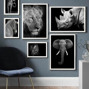 Image 1 - Animais selvagens leão tigre leopardo elefante arte da parede pintura da lona nordic cartazes e impressões fotos parede para sala de estar decoração