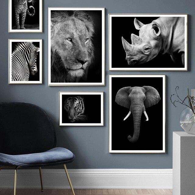 Animais selvagens leão tigre leopardo elefante arte da parede pintura da lona nordic cartazes e impressões fotos parede para sala de estar decoração