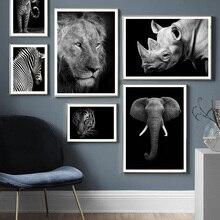 Wilde Tier Lion Tiger Leopard Elefanten Wand Kunst Leinwand Malerei Nordic Poster Und Drucke Wand Bilder Für Wohnzimmer Decor