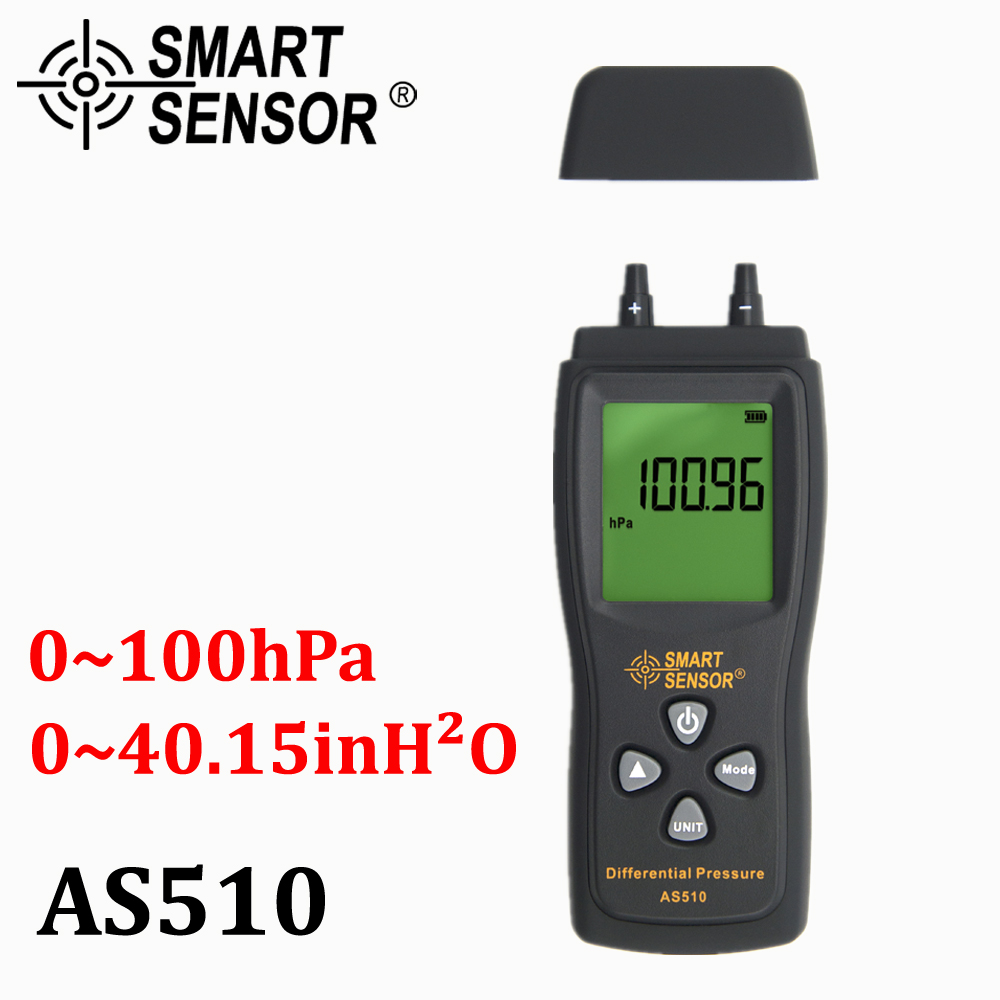 Manometer Digital air pressure Differential Pressure Meter 0-100 hPa/0-45.15 in H2O digital negative vacuum pressure gauge meter lcd pressure gauge differential pressure meter digital manometer measuring range 0 100hpa manometro temperature compensation