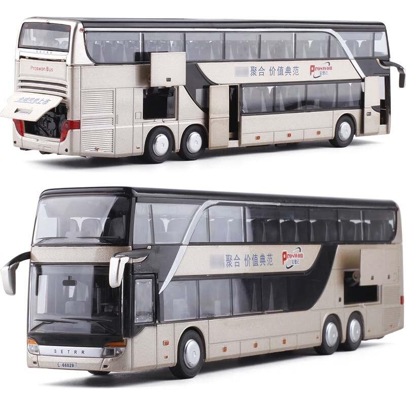1/32 liga diecast ônibus de dois andares som e luz ônibus modelo alta simulação metal luxo ônibus veículo brinquedos para meninos