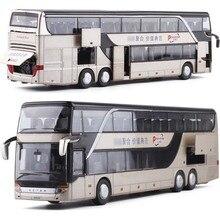 1/32 odlew ze stopu dwupiętrowy autobus dźwięk i światło Model autobusu wysokiej imitacja metalu luksusowy autobus pojazdu zabawki dla chłopców