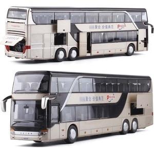 Image 1 - 1/32 合金ダイキャストダブルデッカーバス音と光バスモデル高シミュレーション金属高級バス車両のおもちゃ男の子