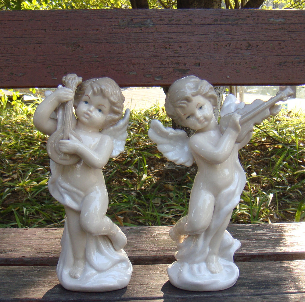 Musical christmas ornaments that play music - Porecelain Musical Instrument Playing Angel Sculpture Decorative Ceramics Music Cupid Statue Craftworks Gift Ornament Furnishing