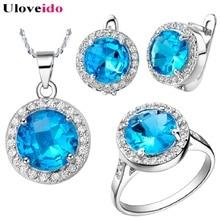 Nádherný set šperků s modrým kamenem – náušnice, prsten a řetízek