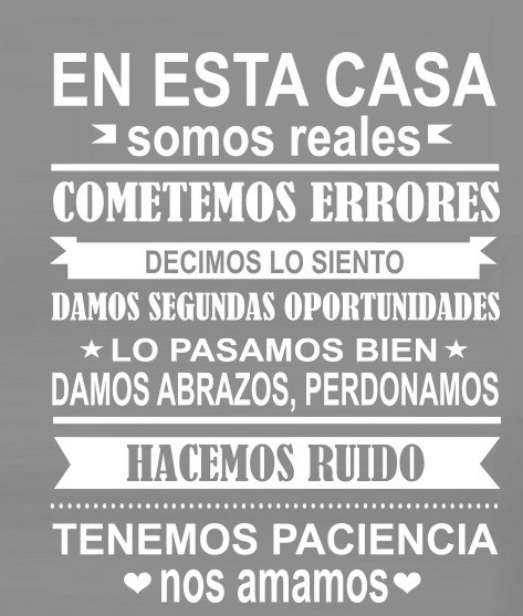 Family Quotes In Spanish Spanish EN ESTA CASA House Rules Wall Sticker Home decor Family  Family Quotes In Spanish