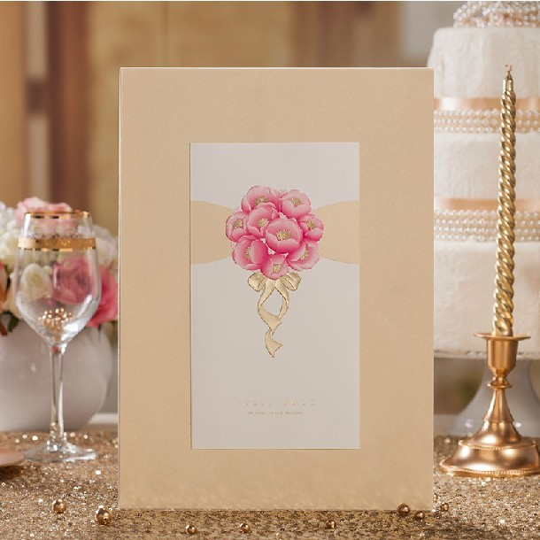 Novel Ideas For Wedding Reception: Champagne Flower Wedding Guest Book (5 Pages) For Wedding