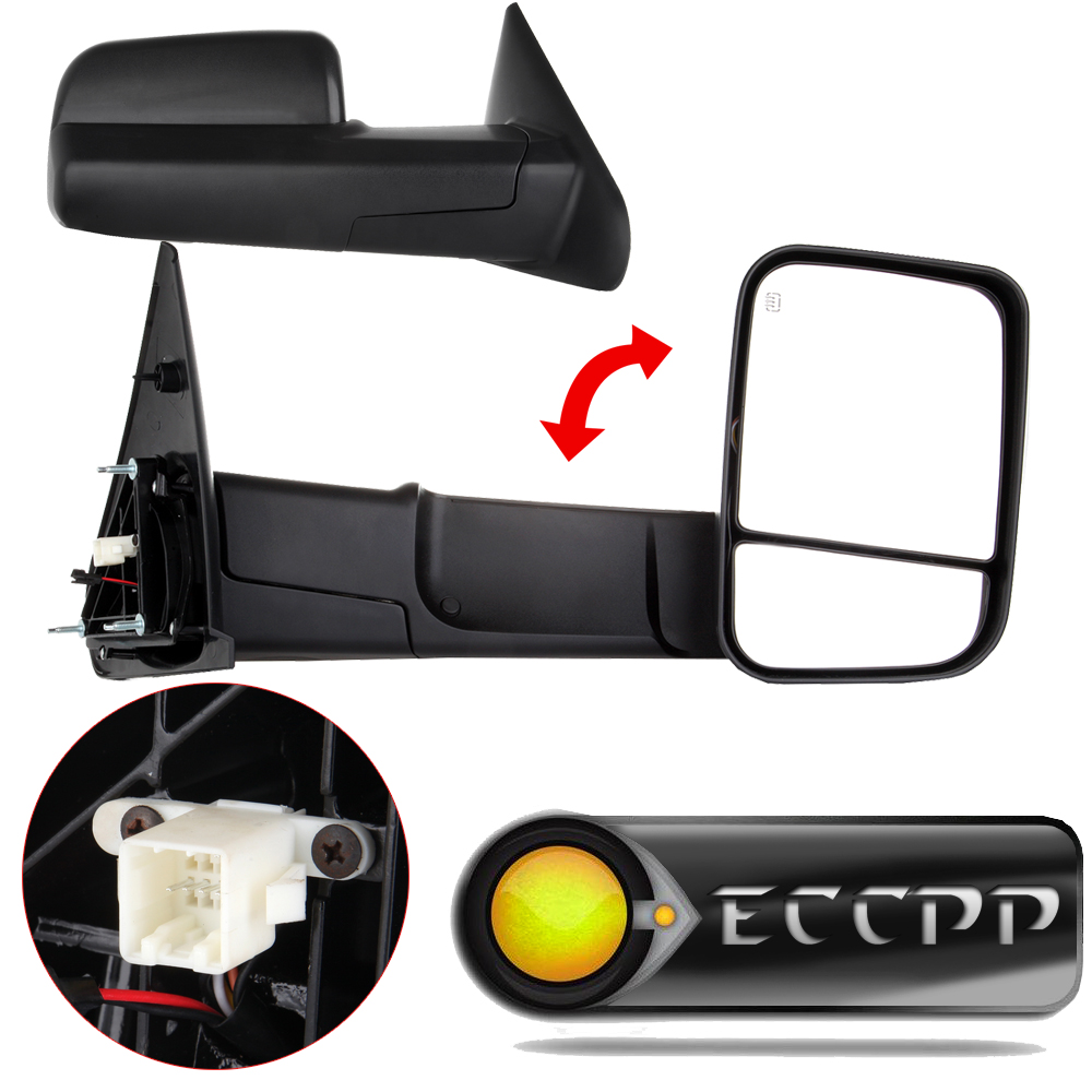 Eccpp two side view mirrors pair set fits 2002 2008 dodge ram 1500 2500 3500 pickup truck power heated towing side mirror