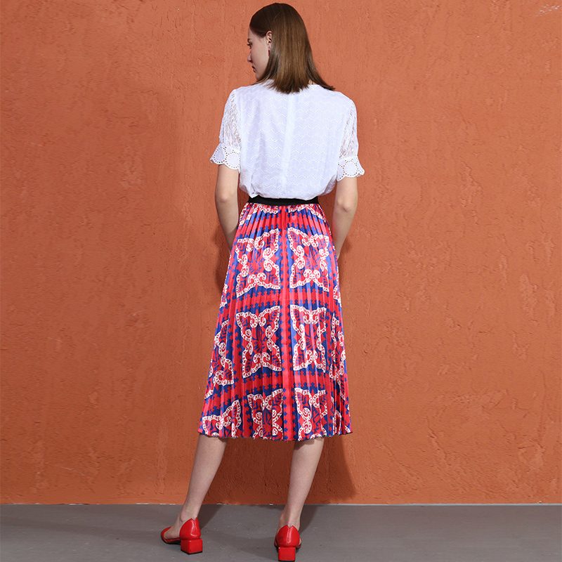 Wreeima Женская юбка плиссированная весна осень 2019 Высокая талия с буквенным принтом юбки для женщин Повседневная модная плиссированная миди юбка - 2