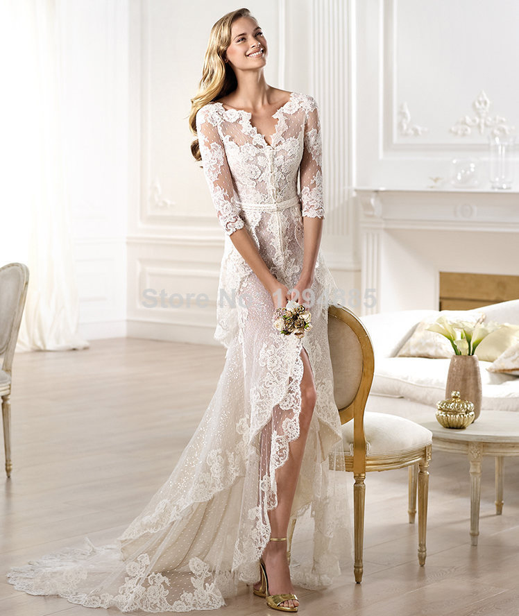 2014 New Arrival Modern High/Low V Neck White Lace Wedding Dress ...