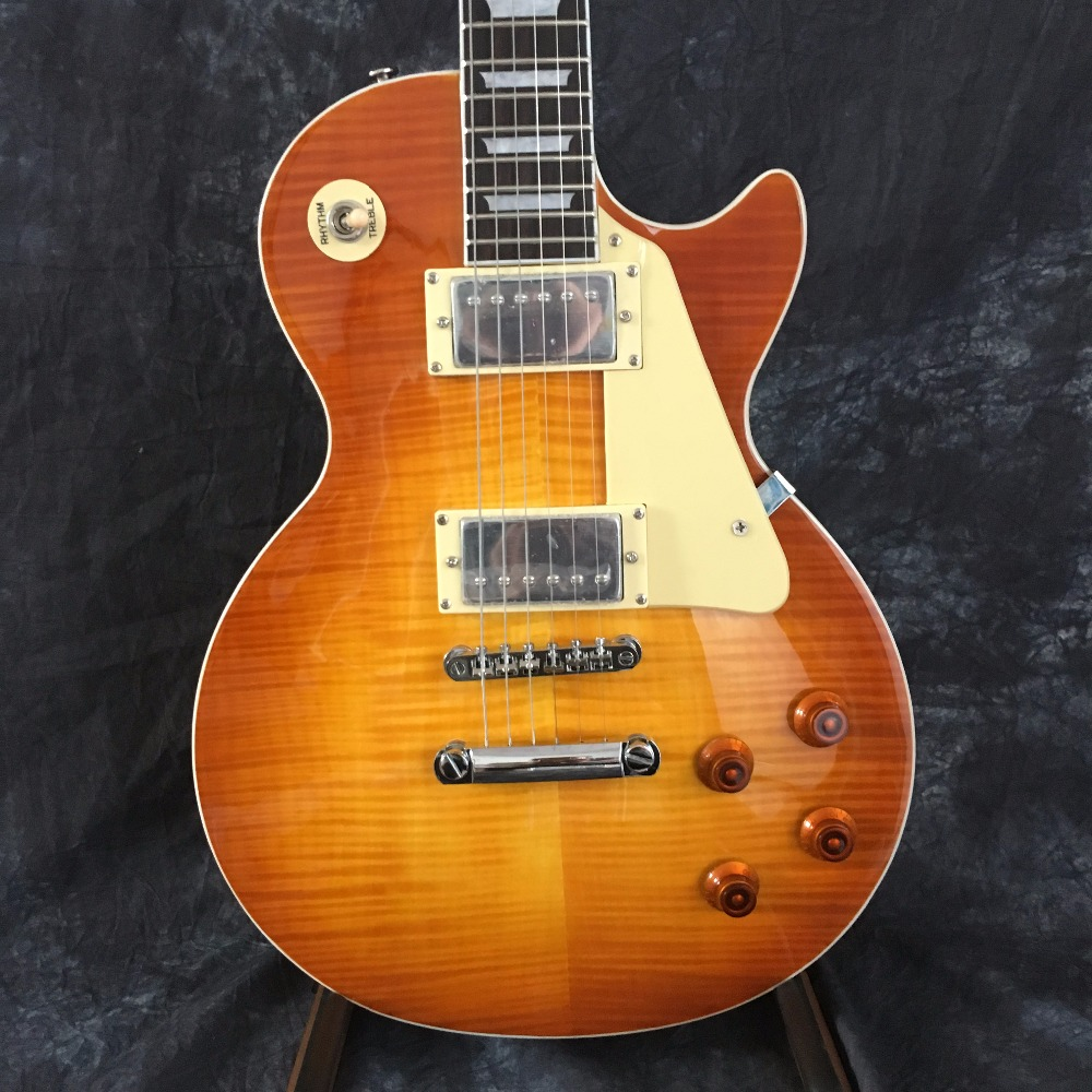 In stock 1959 R9 Explosion Yellow Guitar Style Guitar Electric Pattern with EMS Free Shipping brown burst tiger flame standard paul lp style guitar in stock lp electric guitar ems free shipping