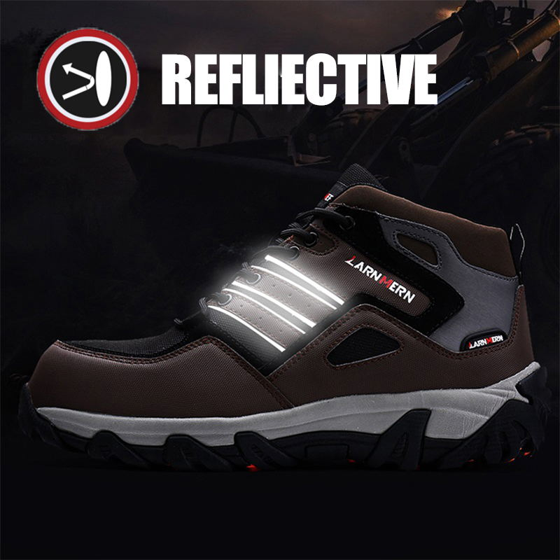 LARNMERN Men Safety Shoes Steel Toe Winter Warm Fur Snow Ankle Boots Reflective Stripe Outdoor Special Work Footwear Shoes 3